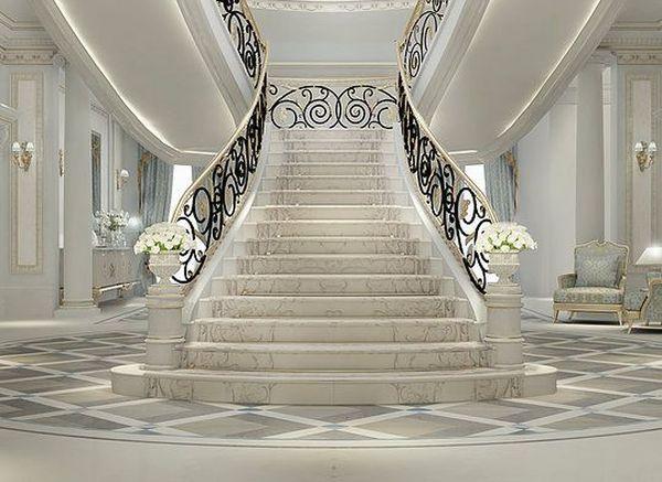 Гипсовые перила и балясины для лестницы