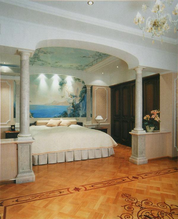 Колонный из гипса в спальне