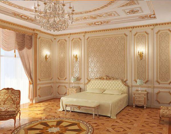Лепнина из гипса в интерьере спальни